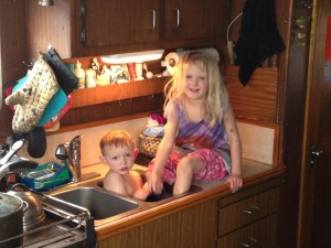 Bath time for boat kids.